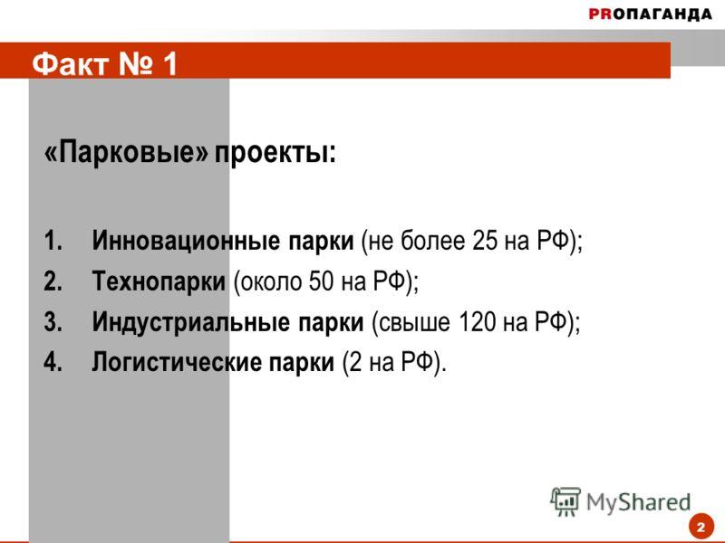 2 Факт 1 «Парковые» проекты: 1.Инновационные парки (не более 25 на РФ); 2.Технопарки (около 50 на РФ); 3.Индустриальные парки (свыше 120 на РФ); 4.Логистические парки (2 на РФ).