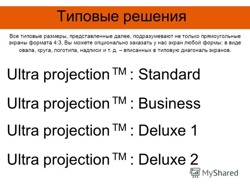 Типовые решения Все типовые размеры, представленные далее, подразумевают не только прямоугольные экраны формата 4:3, Вы можете опционально заказать у нас экран любой формы: в виде овала, круга, логотипа, надписи и т. д. – вписанных в типовую диагонал