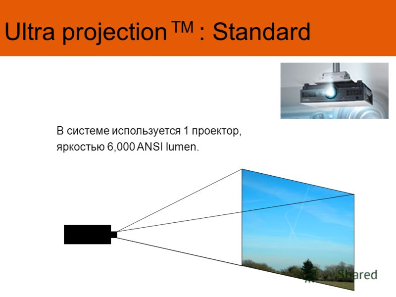 Ultra projection TM : Standard В системе используется 1 проектор, яркостью 6,000 ANSI lumen.