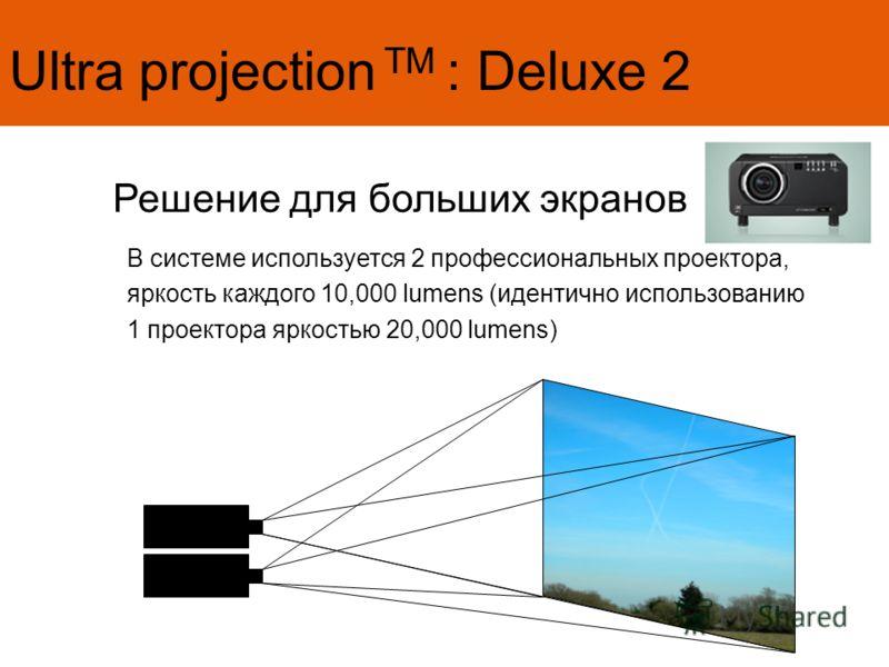 Ultra projection TM : Deluxe 2 Решение для больших экранов В системе используется 2 профессиональных проектора, яркость каждого 10,000 lumens (идентично использованию 1 проектора яркостью 20,000 lumens)