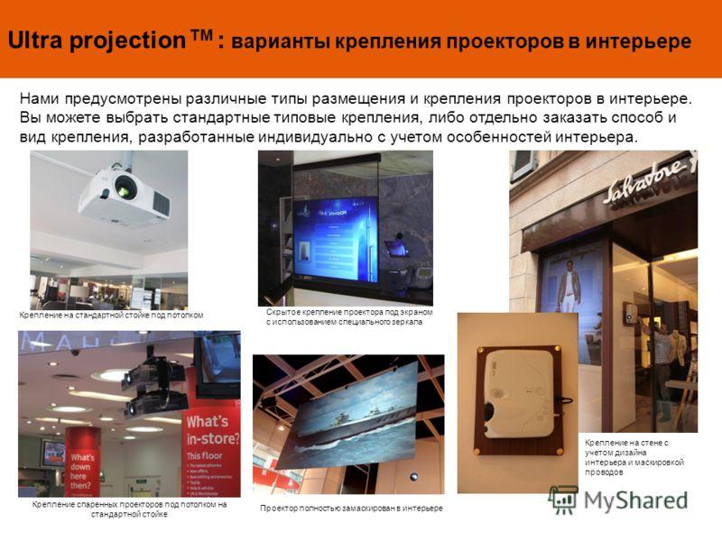 Ultra projection TM : варианты крепления проекторов в интерьере Нами предусмотрены различные типы размещения и крепления проекторов в интерьере. Вы можете выбрать стандартные типовые крепления, либо отдельно заказать способ и вид крепления, разработа