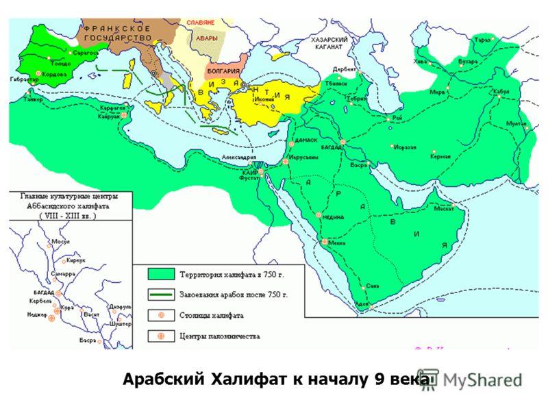 Арабский Халифат к началу 9 века