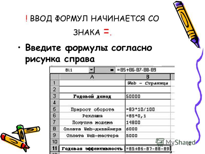 12 ! ВВОД ФОРМУЛ НАЧИНАЕТСЯ СО ЗНАКА =. Введите формулы согласно рисунка справа