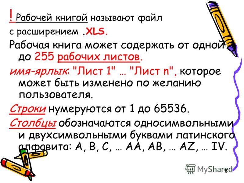 8 ! Рабочей книгой называют файл с расширением.XLS. Рабочая книга может содержать от одной до 255 рабочих листов. имя-ярлык: