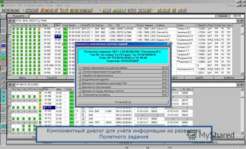 Компонентный диалог для учета информации из разворота Полетного задания
