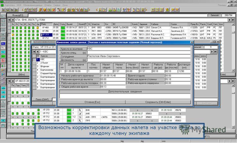 Возможность корректировки данных налета на участке Рейса по каждому члену экипажа