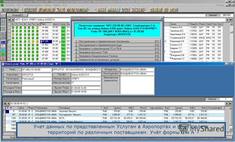 Учет данных по представленным Услугам в Аэропортах и при Пролете территорий по различным поставщикам. Учёт формы С и А