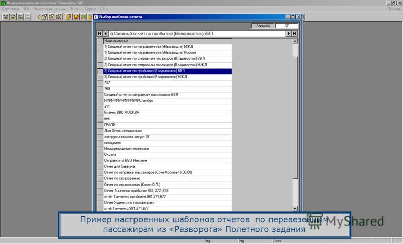Пример настроенных шаблонов отчетов по перевезенным пассажирам из «Разворота» Полетного задания