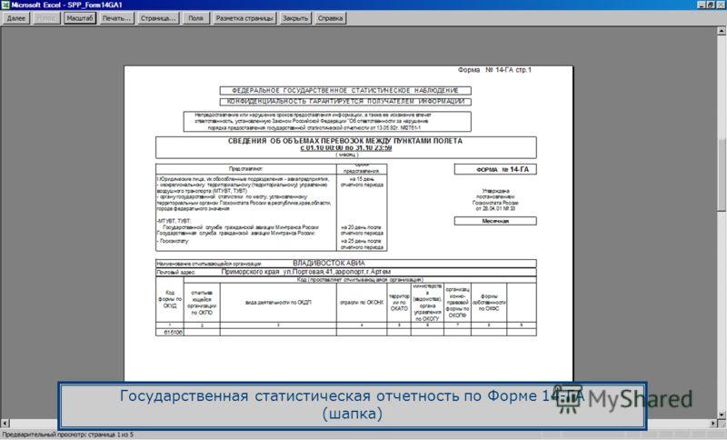 Государственная статистическая отчетность по Форме 14-ГА (шапка)