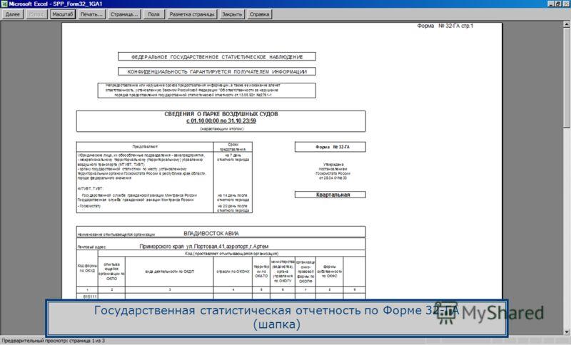 Государственная статистическая отчетность по Форме 32-ГА (шапка)