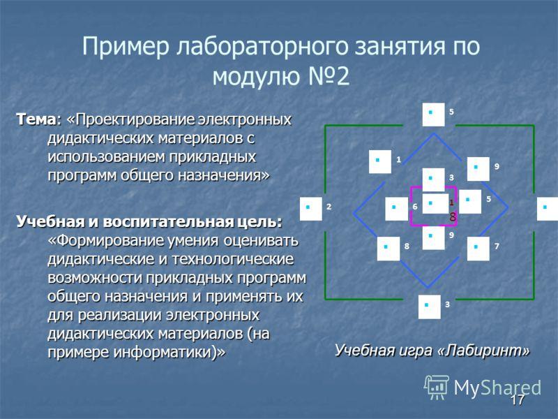 Пример лабораторного занятия по модулю 2 Тема: «Проектирование электронных дидактических материалов с использованием прикладных программ общего назначения» Учебная и воспитательная цель: «Формирование умения оценивать дидактические и технологические