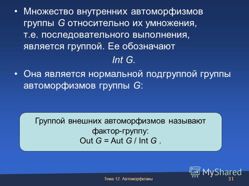 Множество внутренних автоморфизмов группы G относительно их умножения, т.е. последовательного выполнения, является группой. Ее обозначают Int G. Она является нормальной подгруппой группы автоморфизмов группы G: Тема 12. Автоморфизмы 31 Группой внешни