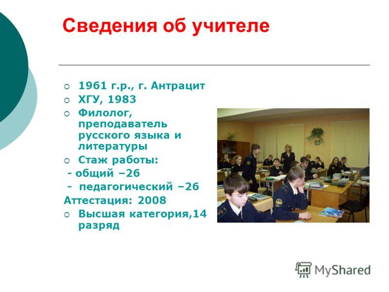 Русского языка и литературы стаж