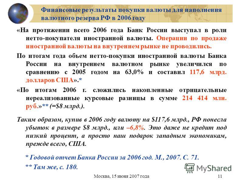 Москва, 15 июня 2007 года11 Финансовые результаты покупки валюты для наполнения валютного резерва РФ в 2006 году * Годовой отчет Банка России за 2006 год. М., 2007. С. 71. ** Там же, с. 180. «На протяжении всего 2006 года Банк России выступал в роли