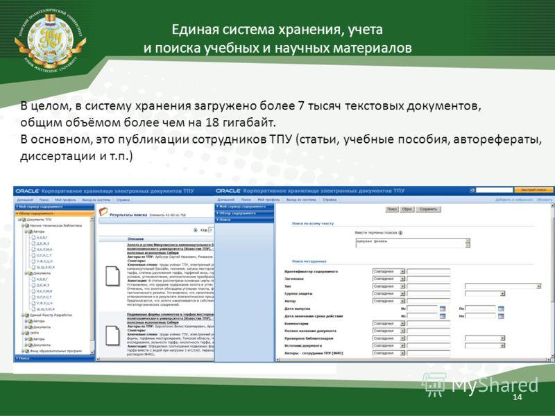 14 В целом, в систему хранения загружено более 7 тысяч текстовых документов, общим объёмом более чем на 18 гигабайт. В основном, это публикации сотрудников ТПУ (статьи, учебные пособия, авторефераты, диссертации и т.п.)