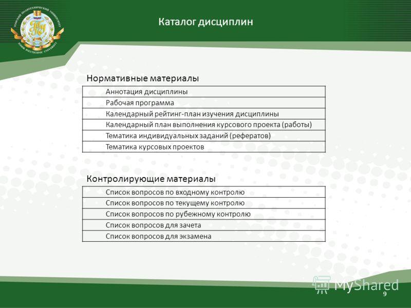 Каталог дисциплин 9 Аннотация дисциплины Рабочая программа Календарный рейтинг-план изучения дисциплины Календарный план выполнения курсового проекта (работы) Тематика индивидуальных заданий (рефератов) Тематика курсовых проектов Список вопросов по в