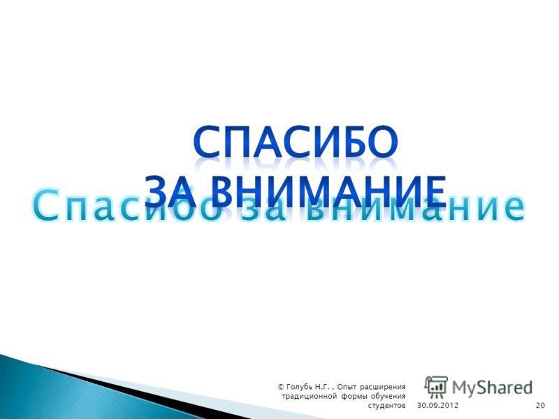 30.09.201220 © Голубь Н.Г., Опыт расширения традиционной формы обучения студентов