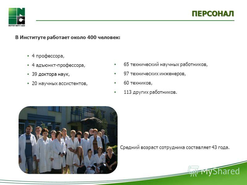 В Институте работает около 400 человек: 4 профессора, 4 адъюнкт-профессора, 39 доктора наук, 20 научных ассистентов, ПЕРСОНАЛ 65 технический научных работников, 97 технических инженеров, 60 техников, 113 других работников. Средний возраст сотрудника