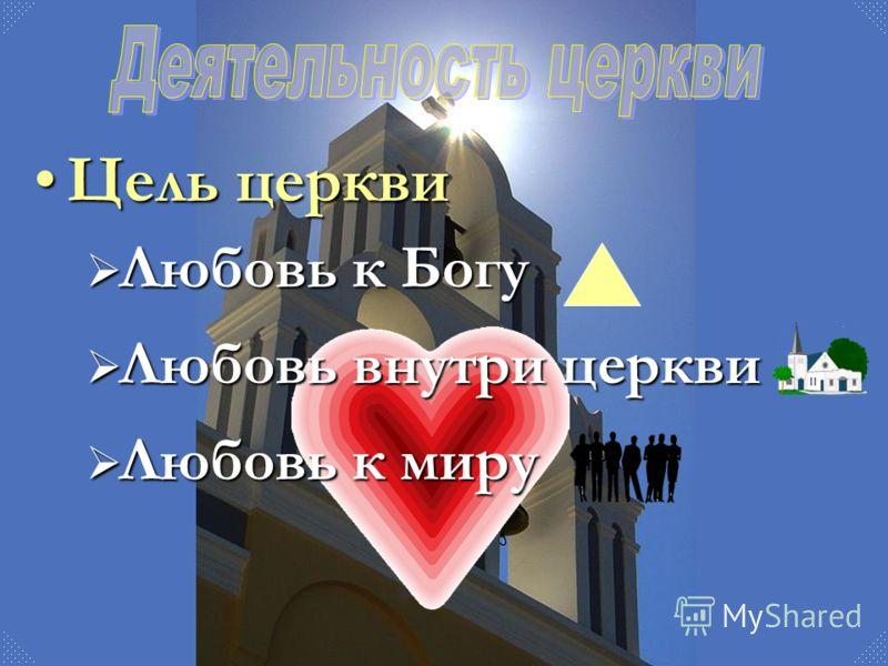 Цель церквиЦель церкви Любовь к Богу Любовь внутри церкви Любовь к миру