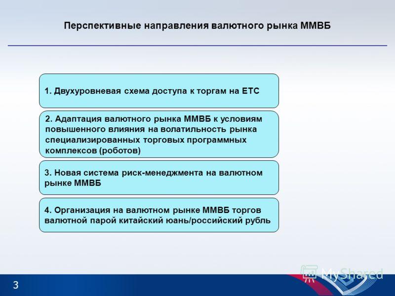 Перспективные направления валютного рынка ММВБ 1. Двухуровневая схема доступа к торгам на ЕТС 4. Организация на валютном рынке ММВБ торгов валютной парой китайский юань/российский рубль 3. Новая система риск-менеджмента на валютном рынке ММВБ 3 2. Ад