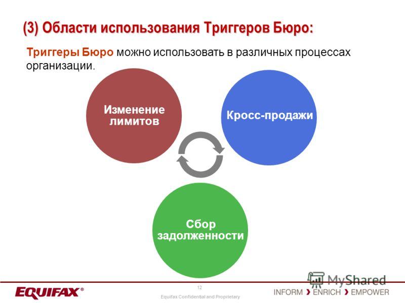 Equifax Confidential and Proprietary 12 (3) Области использования Триггеров Бюро: Триггеры Бюро можно использовать в различных процессах организации. Изменение лимитов Сбор задолженности Кросс-продажи