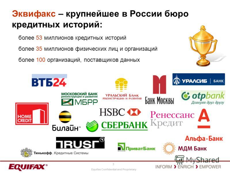 Equifax Confidential and Proprietary 3 Эквифакс – крупнейшее в России бюро кредитных историй: более 53 миллионов кредитных историй более 35 миллионов физических лиц и организаций более 100 организаций, поставщиков данных