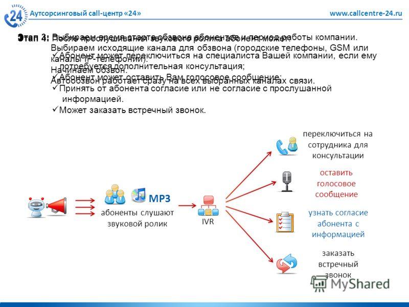Аутсорсинговый call-центр «24»www.callcentre-24.ru Этап 3: Выбираем время старта обзвона абонентов и период работы компании. Выбираем исходящие канала для обзвона (городские телефоны, GSM или каналы IP-телефонии). Начинаем обзвон. Автообзвон работает