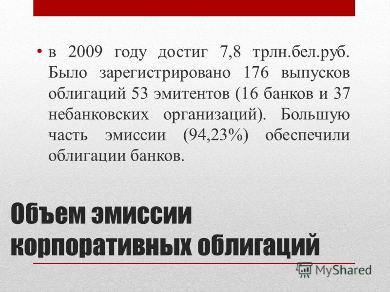 Объем эмиссии корпоративных облигаций в 2009 году достиг 7,8 трлн.бел.руб. Было зарегистрировано 176 выпусков облигаций 53 эмитентов (16 банков и 37 небанковских организаций). Большую часть эмиссии (94,23%) обеспечили облигации банков.
