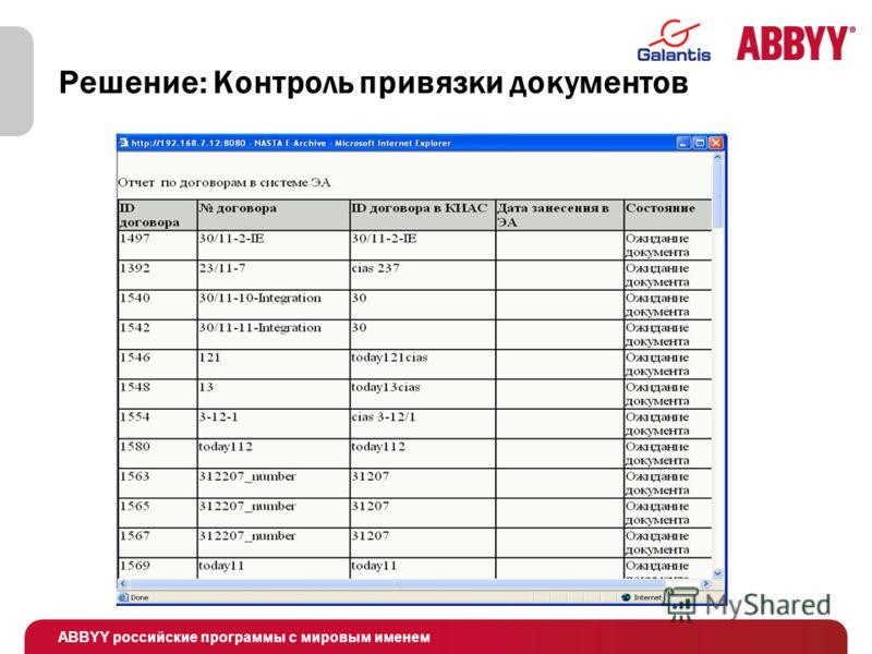 ABBYY российские программы с мировым именем Решение: Контроль привязки документов