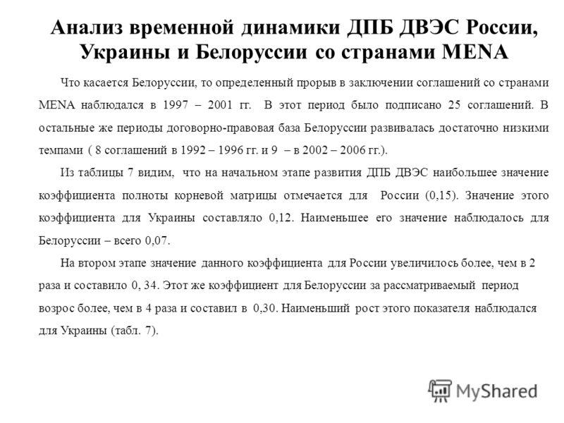 Анализ временной динамики ДПБ ДВЭС России, Украины и Белоруссии со странами MENA Что касается Белоруссии, то определенный прорыв в заключении соглашений со странами MENA наблюдался в 1997 – 2001 гг. В этот период было подписано 25 соглашений. В остал
