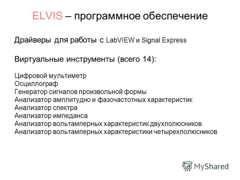ELVIS – программное обеспечение Драйверы для работы с LabVIEW и Signal Express Виртуальные инструменты (всего 14): Цифровой мультиметр Осциллограф Генератор сигналов произвольной формы Анализатор амплитудно и фазочастотных характеристик Анализатор сп