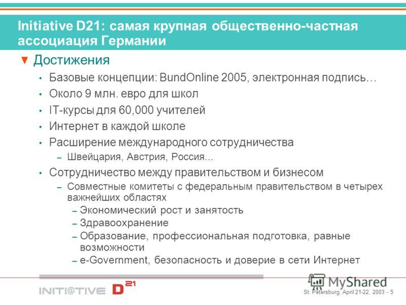 St. Petersburg, April 21-22, 2003 - 5 Initiative D21: самая крупная общественно-частная ассоциация Германии Достижения Базовые концепции: BundOnline 2005, электронная подпись… Около 9 млн. евро для школ IT-курсы для 60,000 учителей Интернет в каждой