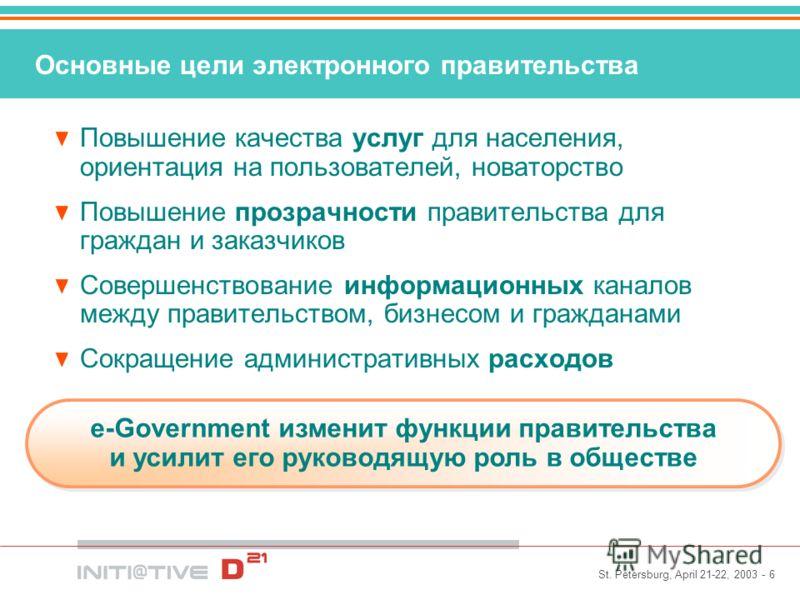 St. Petersburg, April 21-22, 2003 - 6 Основные цели электронного правительства Повышение качества услуг для населения, ориентация на пользователей, новаторство Повышение прозрачности правительства для граждан и заказчиков Совершенствование информацио
