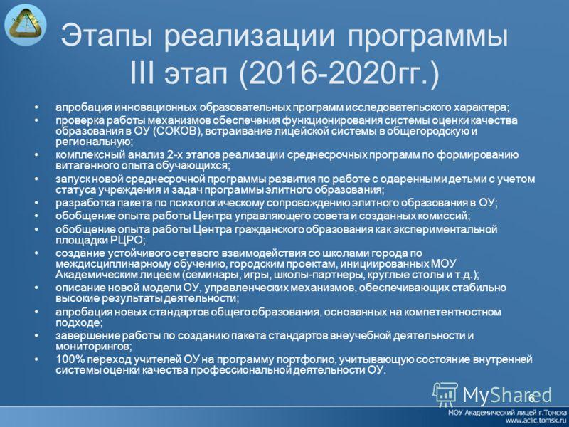 6 Этапы реализации программы III этап (2016-2020гг.) апробация инновационных образовательных программ исследовательского характера; проверка работы механизмов обеспечения функционирования системы оценки качества образования в ОУ (СОКОВ), встраивание