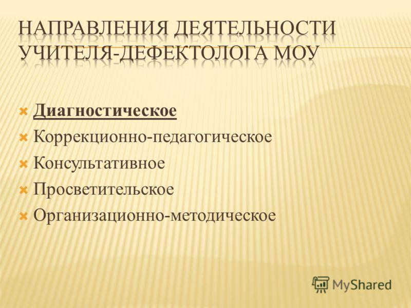Диагностическое Коррекционно-педагогическое Консультативное Просветительское Организационно-методическое