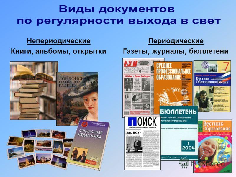 Непериодические Книги, альбомы, открытки Периодические Газеты, журналы, бюллетени