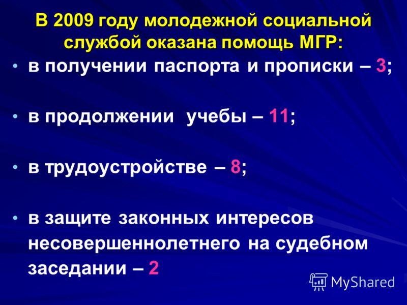 В 2009 году молодежной социальной службой оказана помощь МГР: в получении паспорта и прописки – 3; в продолжении учебы – 11; в трудоустройстве – 8; в защите законных интересов несовершеннолетнего на судебном заседании – 2