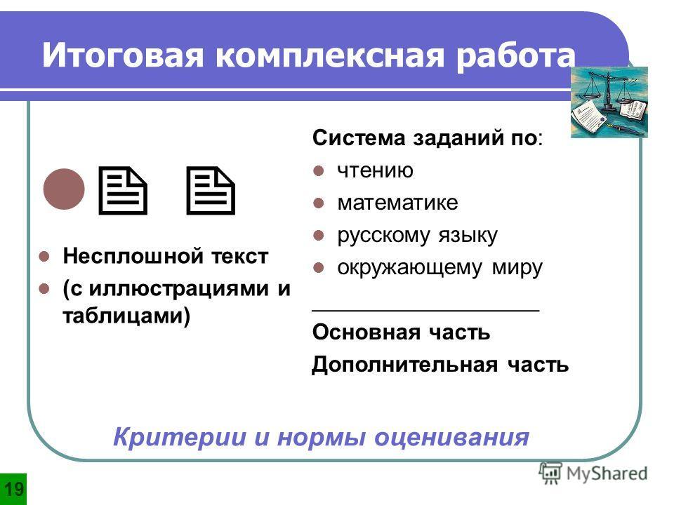 Несплошной текст (с иллюстрациями и таблицами) Система заданий по: чтению математике русскому языку окружающему миру __________________ Основная часть Дополнительная часть Критерии и нормы оценивания Итоговая комплексная работа 1919
