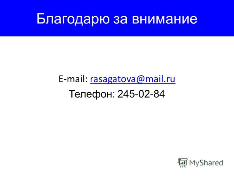 Благодарю за внимание E-mail: rasagatova@mail.rurasagatova@mail.ru Телефон: 245-02-84