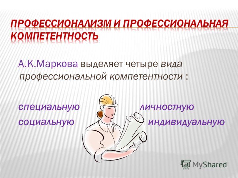 А.К.Маркова выделяет четыре вида профессиональной компетентности : специальную личностную социальную индивидуальную