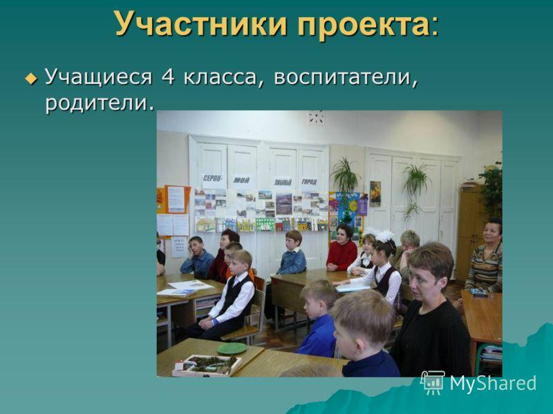 Участники проекта: Учащиеся 4 класса, воспитатели, родители. Учащиеся 4 класса, воспитатели, родители.