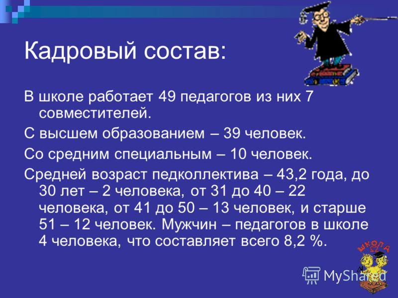 Кадровый состав: В школе работает 49 педагогов из них 7 совместителей. С высшем образованием – 39 человек. Со средним специальным – 10 человек. Средней возраст педколлектива – 43,2 года, до 30 лет – 2 человека, от 31 до 40 – 22 человека, от 41 до 50
