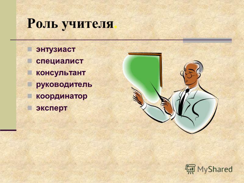 Роль учителя. энтузиаст специалист консультант руководитель координатор эксперт
