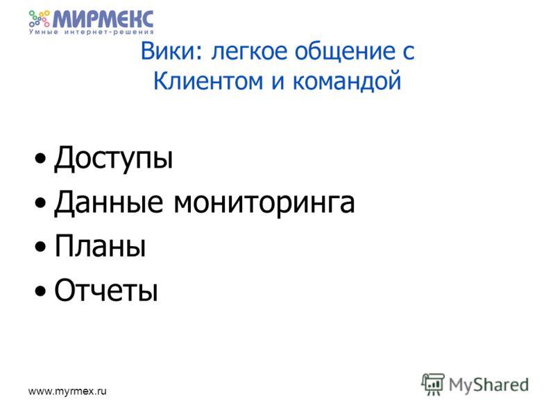 www.myrmex.ru Вики: легкое общение с Клиентом и командой Доступы Данные мониторинга Планы Отчеты