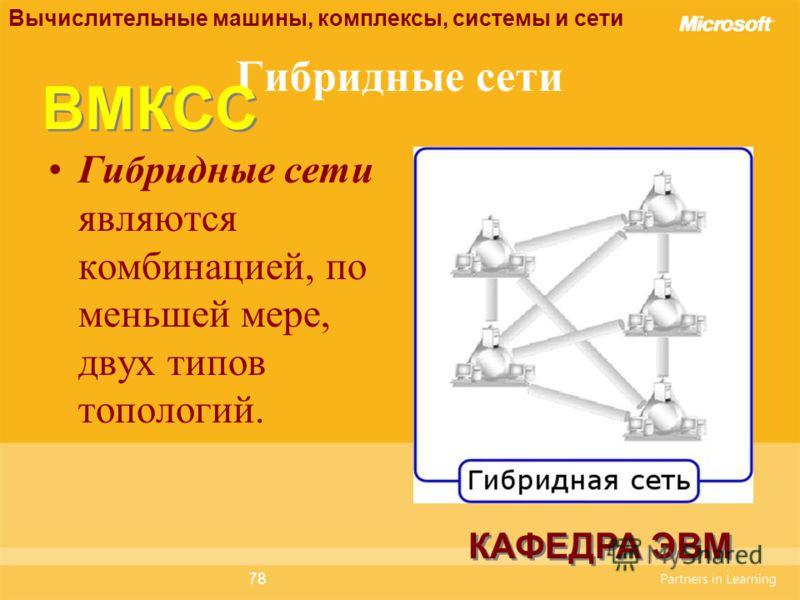 78 Гибридные сети Гибридные сети являются комбинацией, по меньшей мере, двух типов топологий. Вычислительные машины, комплексы, системы и сети КАФЕДРА ЭВМ ВМКСС