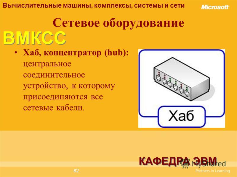82 Сетевое оборудование Хаб, концентратор (hub): центральное соединительное устройство, к которому присоединяются все сетевые кабели. Вычислительные машины, комплексы, системы и сети КАФЕДРА ЭВМ ВМКСС