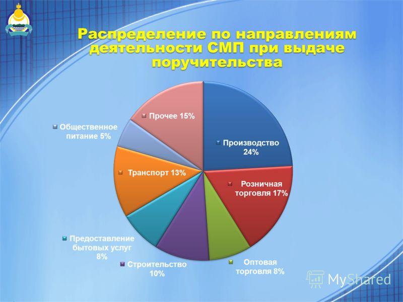 Распределение по направлениям деятельности СМП при выдаче поручительства