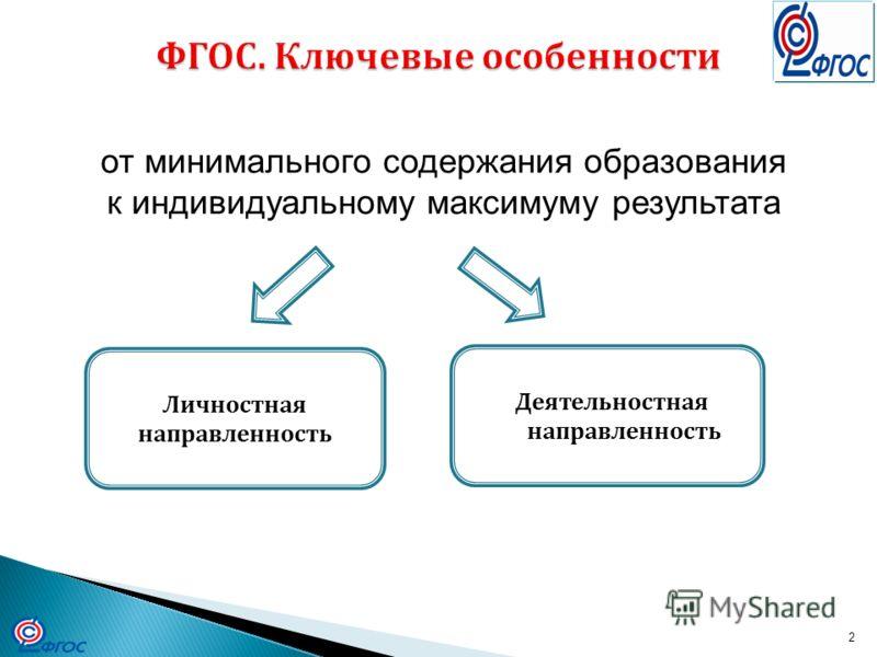 2 Личностная направленность Деятельностная направленность от минимального содержания образования к индивидуальному максимуму результата