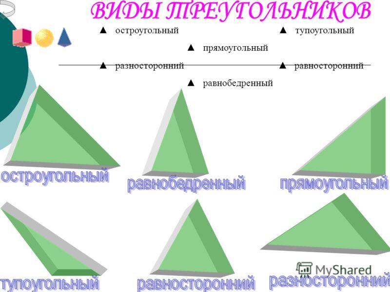 остроугольный тупоугольный прямоугольный разносторонний равносторонний равнобедренный