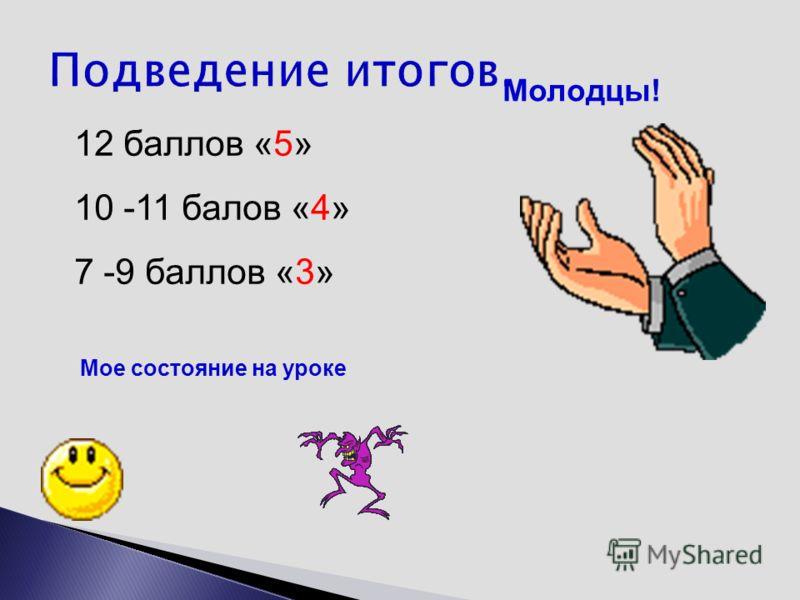 Молодцы! 12 баллов «5» 10 -11 балов «4» 7 -9 баллов «3» Мое состояние на уроке